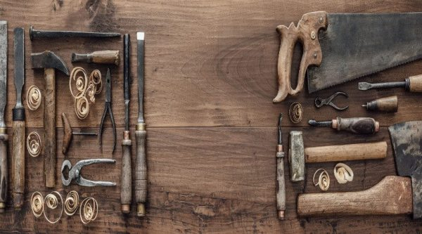 Header showing classic woodworking tools